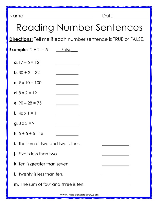 Worksheets Number Sentence Worksheets 2nd Grade true or false number sentences the teacher treasury students are asked to identify each sentence as either false