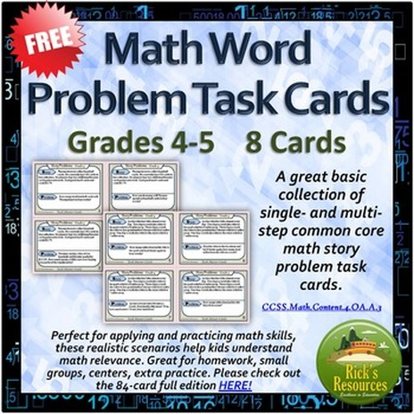 FREE Common Core Math Story Problems - 8 Task Cards - Grade 4 - The ...
