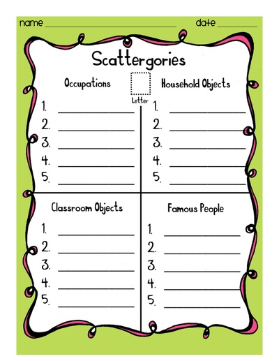 photo relating to Scattergories Answer Sheets Printable named All Groups - The Instructor Treasury